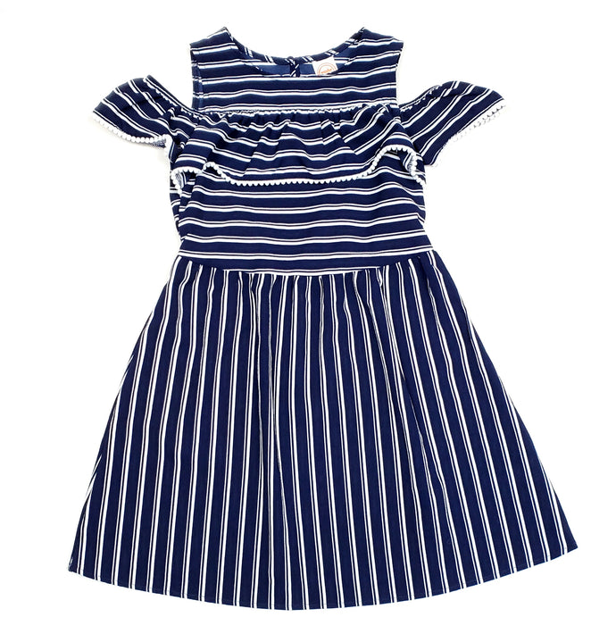 Wonder Nation Girls Blue Striped Dress Size 7 Used View 1