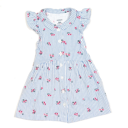 Carters Girls Blue Striped Floral Dress 6M Used View 1