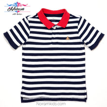 Load image into Gallery viewer, Gap Blue White Striped Boys Polo Shirt 2T Used View 1
