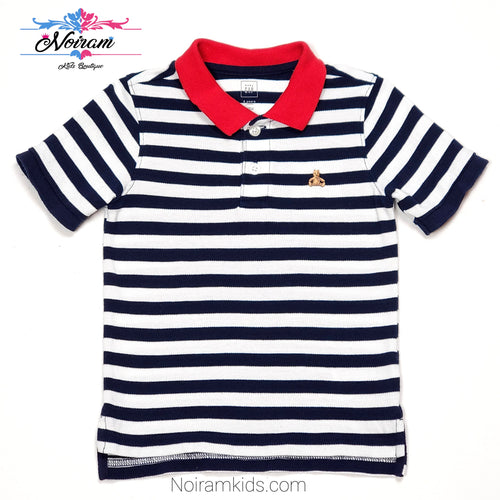 Gap Blue White Striped Boys Polo Shirt 2T Used View 1