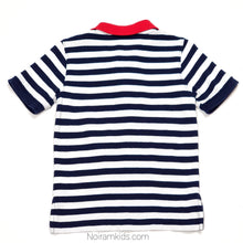 Load image into Gallery viewer, Gap Blue White Striped Boys Polo Shirt 2T Used View 2