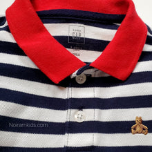 Load image into Gallery viewer, Gap Blue White Striped Boys Polo Shirt 2T Used View 3