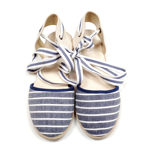 Crazy 8 Girls Blue Striped Espadrille Shoes Size 2 Used View 1