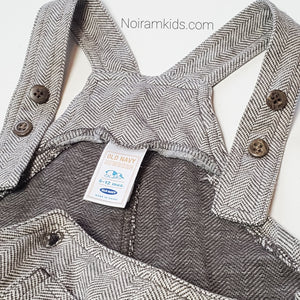 Old Navy Brown Herringbone Boys Overalls 6M Used View 4