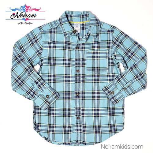 Carters Boys Blue Flannel Plaid Shirt 4T Used View 1