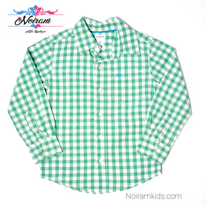 Carters Boys Green Check Plaid Shirt 4T Used View 1