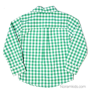 Carters Boys Green Check Plaid Shirt 4T Used View 2