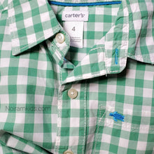 Load image into Gallery viewer, Carters Boys Green Check Plaid Shirt 4T Used View 3