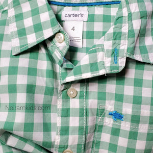 Carters Boys Green Check Plaid Shirt 4T Used View 3