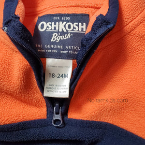 Oshkosh Boys Orange Blue Fleece Pullover Used View 3