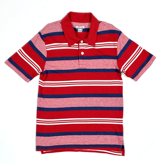 Childrens Place Boys Red Striped Polo Shirt Medium Used View 1