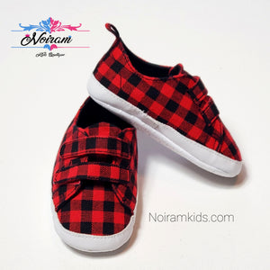 Old Navy Buffalo Plaid Baby Shoes Used View 1