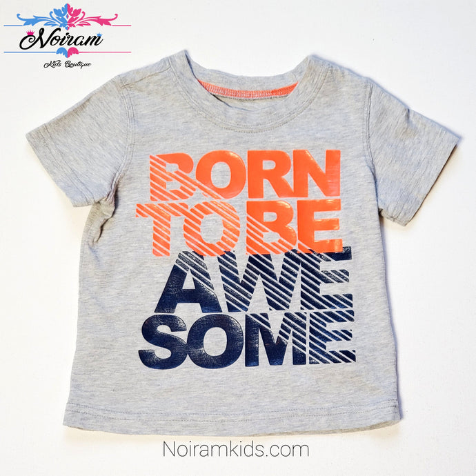Carters Baby Boy Born to Be Awesome Shirt Used View 1