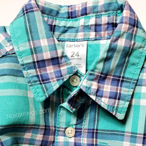 Carters Green Plaid Short Sleeve Shirt 24M Used View 2