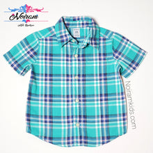 Load image into Gallery viewer, Carters Green Plaid Short Sleeve Shirt 24M Used View 1