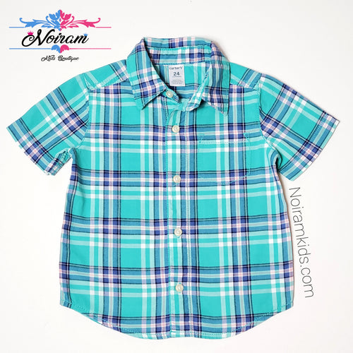 Carters Green Plaid Short Sleeve Shirt 24M Used View 1