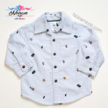 Load image into Gallery viewer, Carters Car Rocket Print Button Down Shirt Baby Boys 9M View 1