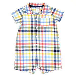 Carters Boys Colorful Plaid Romper 12M Used View 1