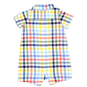Carters Boys Colorful Plaid Romper 12M Used View 2