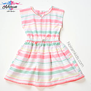 Carters Girls Colorful Striped Dress Size 5 Used View 1