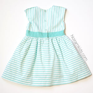 Carters Girls Green White Striped Dress 4T Used View 4