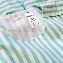 Load image into Gallery viewer, Carters Girls Green White Striped Dress 4T Used View 6