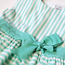 Load image into Gallery viewer, Carters Girls Green White Striped Dress 4T Used View 2