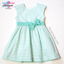 Load image into Gallery viewer, Carters Girls Green White Striped Dress 4T Used View 1