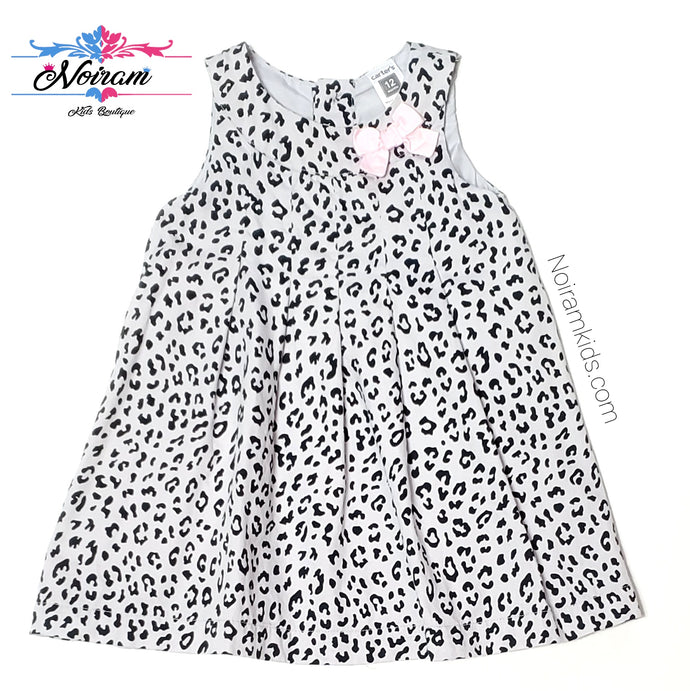 Carters Grey Leopard Print Girls Dress 12M Used View 1