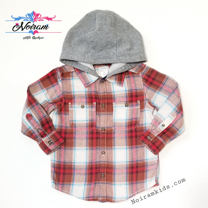 Carter's Hooded Flannel Shirt Toddler Boys Used View 1