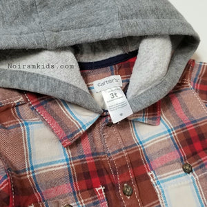 Carter's Hooded Flannel Shirt Toddler Boys Used View 3
