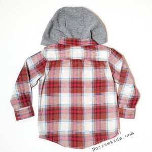 Carter's Hooded Flannel Shirt Toddler Boys Used View 2