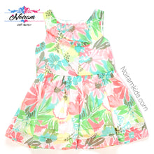 Load image into Gallery viewer, Cat Jack Pink Blue Girls Floral Dress 12M Used View 1