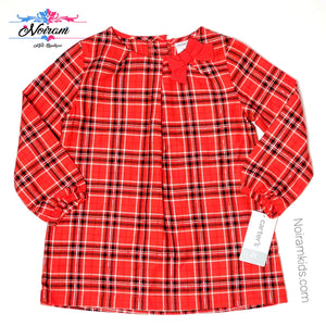 Carters Red Plaid Girls Shirt 2T NWT Used View 1