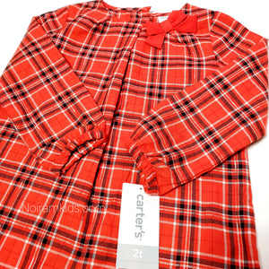 Carters Red Plaid Girls Shirt 2T NWT Used View 2