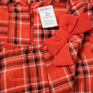 Carters Red Plaid Girls Shirt 2T NWT Used View 4