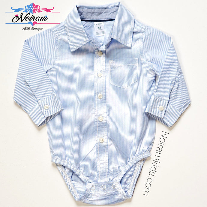 Carters Striped Button Down Bodysuit Baby Boys 12M View 1