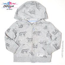 Load image into Gallery viewer, Carters Grey Tiger Zip Up Boys Hoodie 24M Used View 1