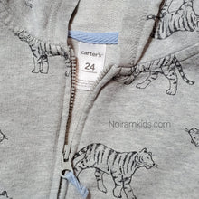 Load image into Gallery viewer, Carters Grey Tiger Zip Up Boys Hoodie 24M Used View 3