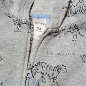 Carters Grey Tiger Zip Up Boys Hoodie 24M Used View 3