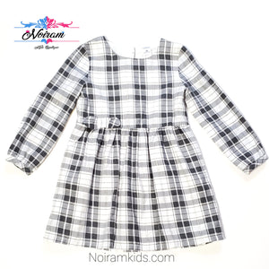 Carters White Grey Plaid Girls Dress 3T Used View 1