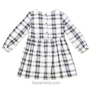 Carters White Grey Plaid Dress 3T