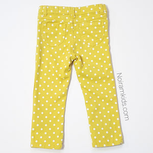 Carters Girls Yellow Polka Dot Jeans 3T Used View 2