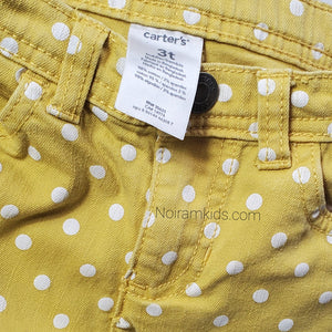 Carters Girls Yellow Polka Dot Jeans 3T Used View 3
