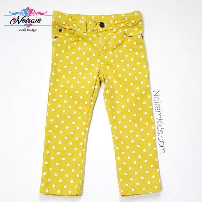 Carters Girls Yellow Polka Dot Jeans 3T Used