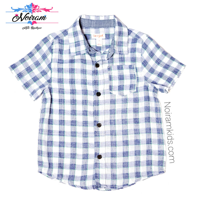 Cat Jack Blue White Plaid Boys Shirt 4T Used View 1