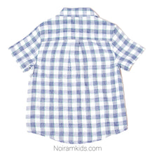 Load image into Gallery viewer, Cat Jack Blue White Plaid Boys Shirt 4T Used View 2