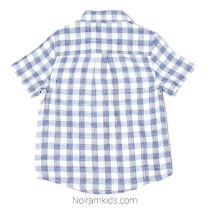 Cat Jack Blue White Plaid Boys Shirt 4T Used View 2