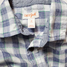 Load image into Gallery viewer, Cat Jack Blue White Plaid Boys Shirt 4T Used View 3