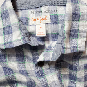 Cat Jack Blue White Plaid Boys Shirt 4T Used View 3